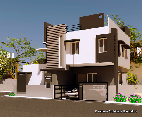 Beautiful front elevation house design by ashwin architects for Front home design ideas