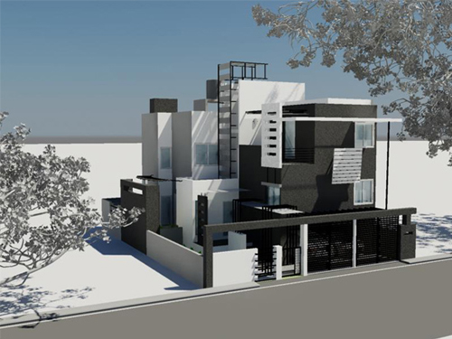 Front Elevation For Duplex : Beautiful front elevation house design by ashwin architects