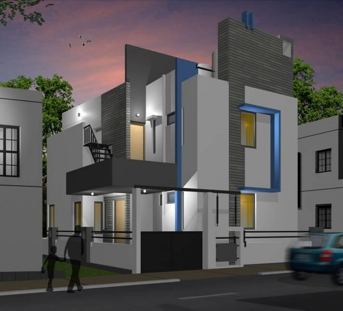 Beautiful front elevation house design by ashwin architects for Home elevation design photo gallery