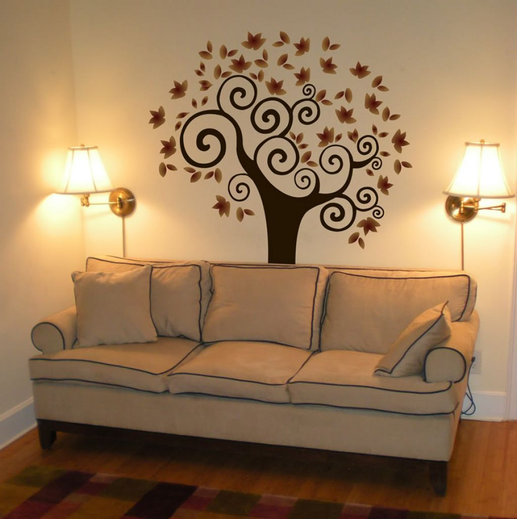 Decoration for your home interior with stunning tree for Interior wall paint designs