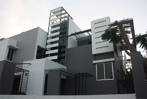 Building Front Elevation Staircase : Beautiful front elevation house design by ashwin architects