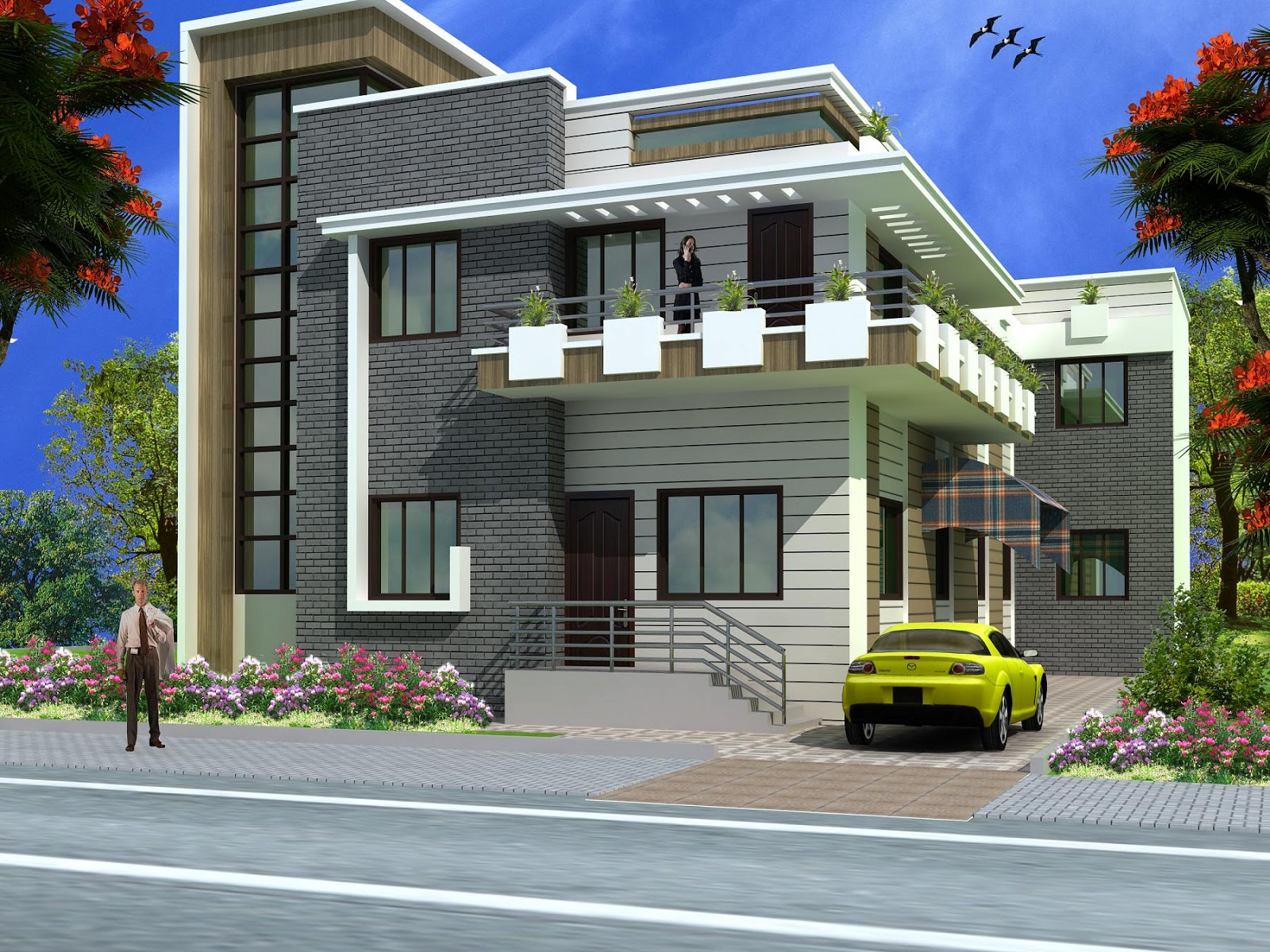 Superb Front Design Of Normal House Part - 8: Scintillating Normal Indian House Plans Gallery - Exterior Ideas 3D .