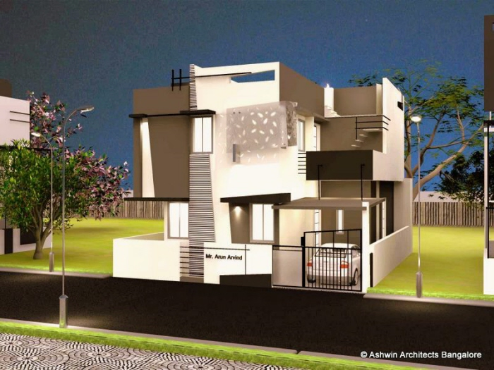 Charming Front Design Of House In Bangalore Part - 9: Beautiful Front Elevation House Design By Ashwin Architects