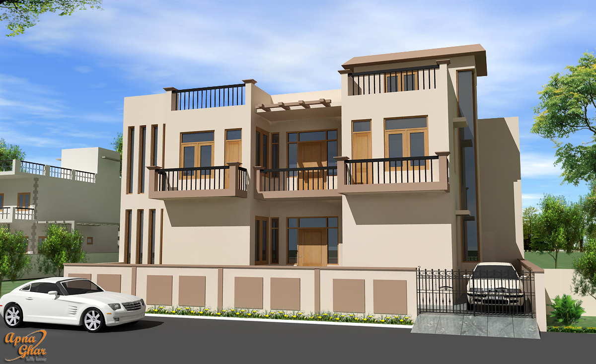 Simple front elevation designs the for Home designs 12m frontage