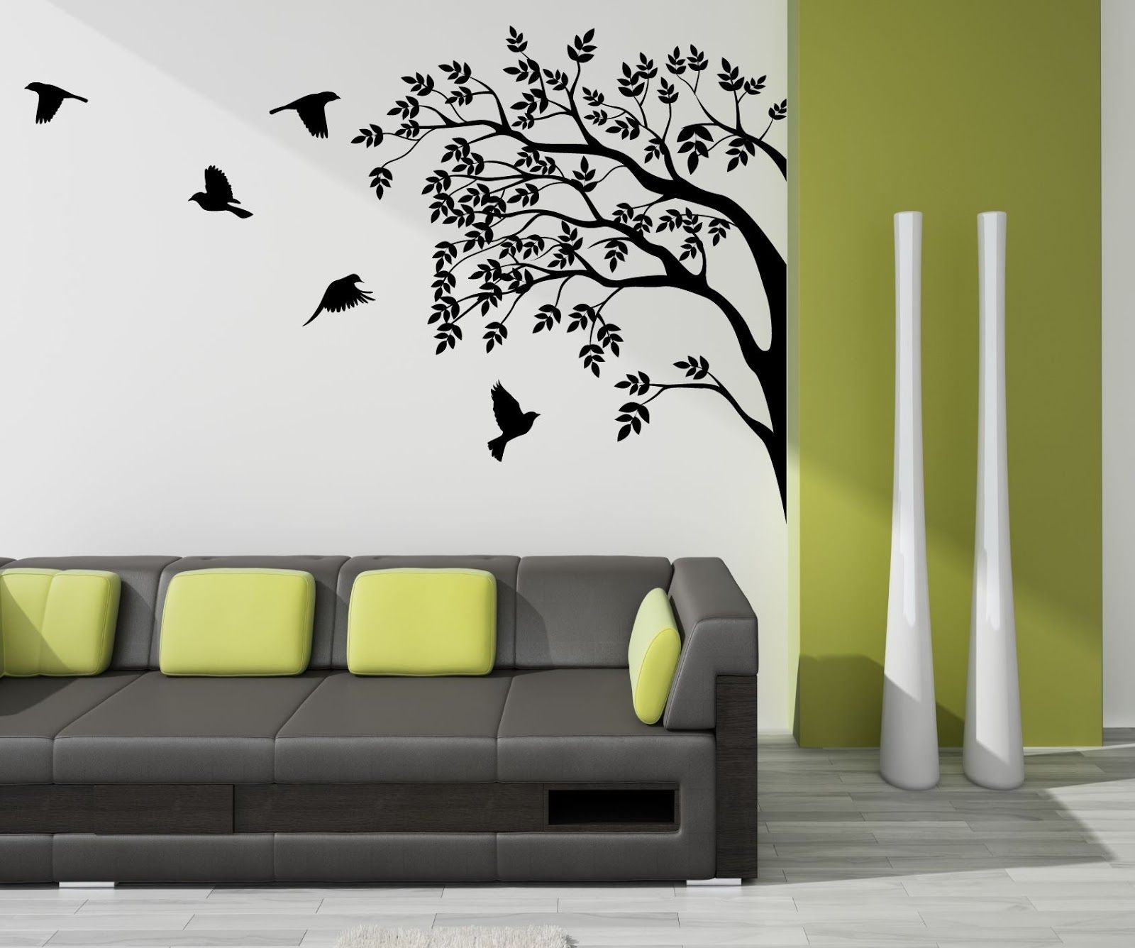 Decoration for your home interior with stunning tree for Interior wall painting designs