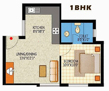 Elegant 1bhk apartment floorplan design for 1 bhk flat interior decoration image