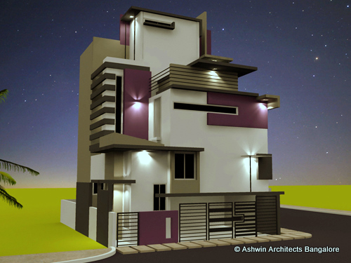 Front Elevation Designs Bangalore : Beautiful front elevation house design by ashwin architects