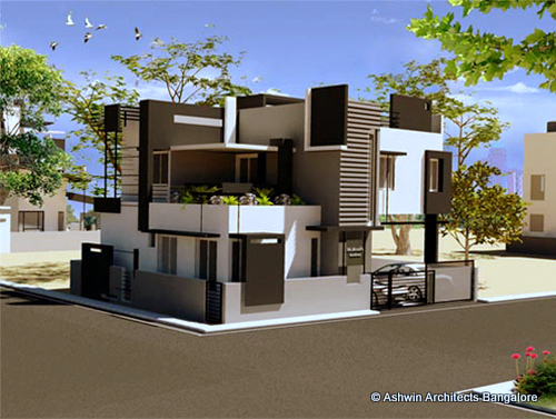 Front Elevation Designs For Small Houses In Bangalore : Beautiful front elevation house design by ashwin architects