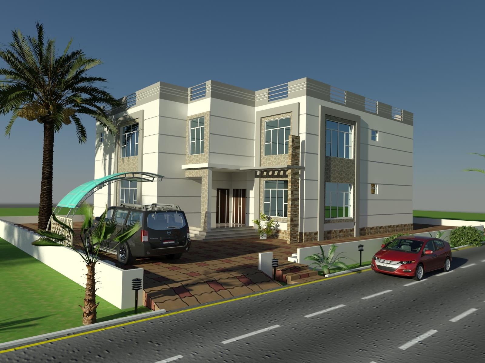 3d front elevation design by faisal hassan for Architecture house elevation design