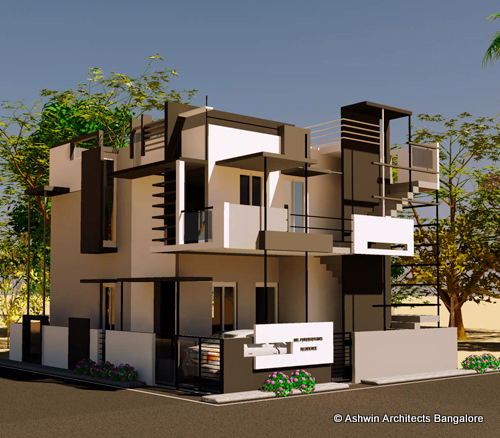 Beautiful front elevation house design by ashwin architects for Building house with side views
