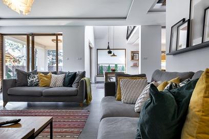 Modern interior design - livingroom with gray tile flooring