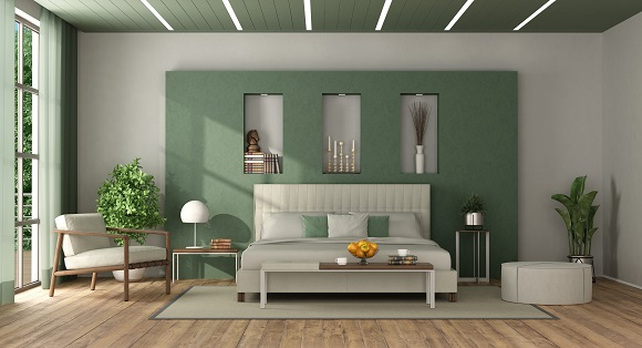 White and green elegant master bedroom with double bed against wall with niche - 3d rendering
