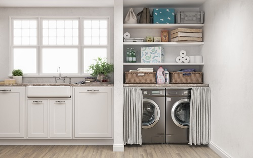 Laundry room with wood floor, washing machine at closet,white wall, shelving,clothes with classic kitchen . 3d illustration