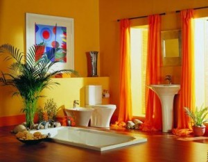 Amazing-Chic-And-Inspirational-Colorful-Bathroom-Ideas-In-Light-Orange-Yellow-Bathroom-Color-Design-