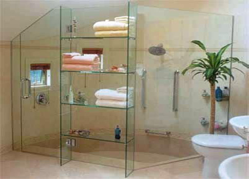 Elegant bathroom shelf design ideas for Bathroom glass shelves