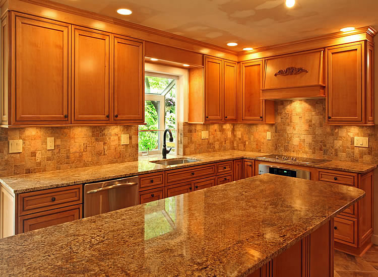 Astonishing Modern Wooden Cabinets Granite Countertops Kitchen Remodel