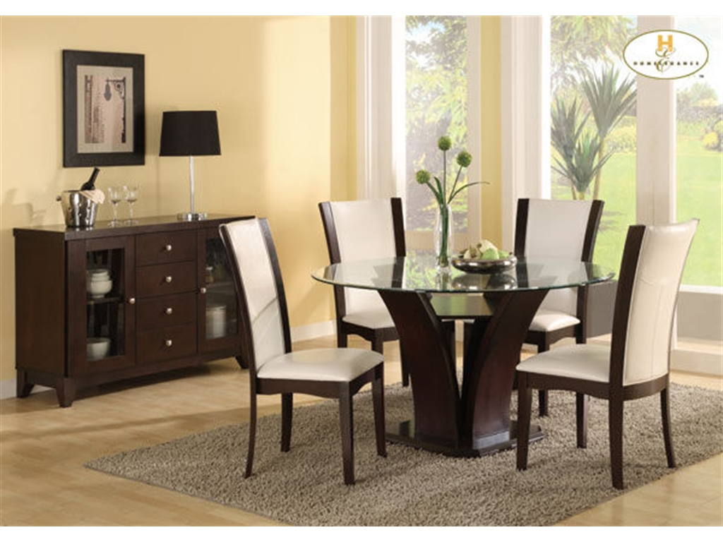 Round Glass Dining Table Decor dining room set with white leather chairs and glass table top