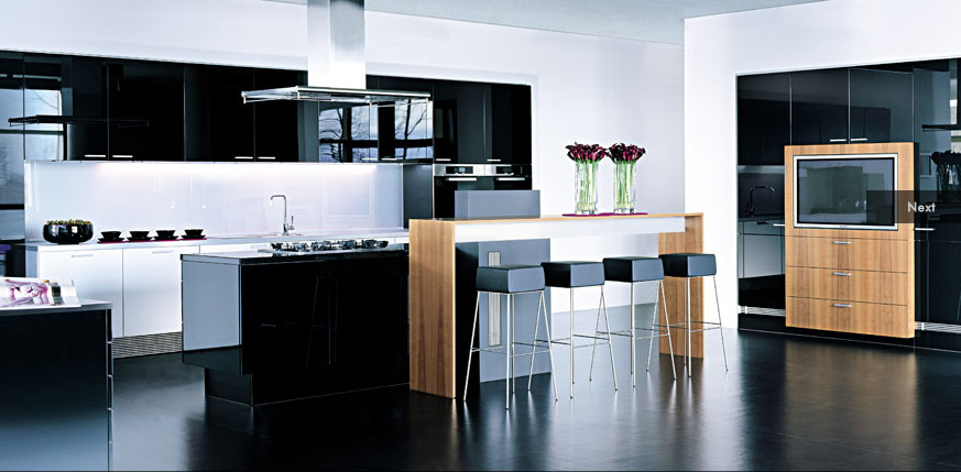 Black-Modern-Design-Kitchen-Wooden-Bar-Table-White-Backsplash