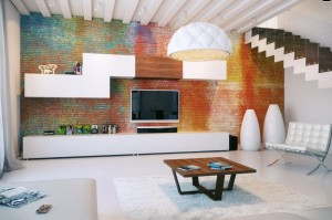 Colorful-exposed-brick-wall-modular-storage
