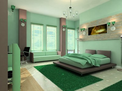 Cool-green-bedrom-interior-decoration-