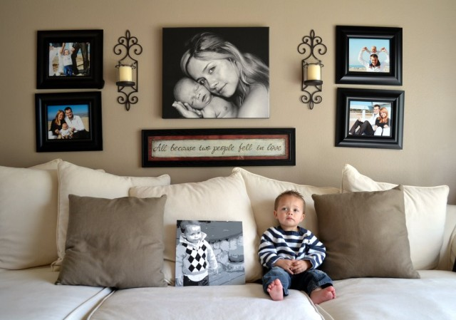 Wall Decor Ideas Behind Couch : Art of arranging pictures for home interiors