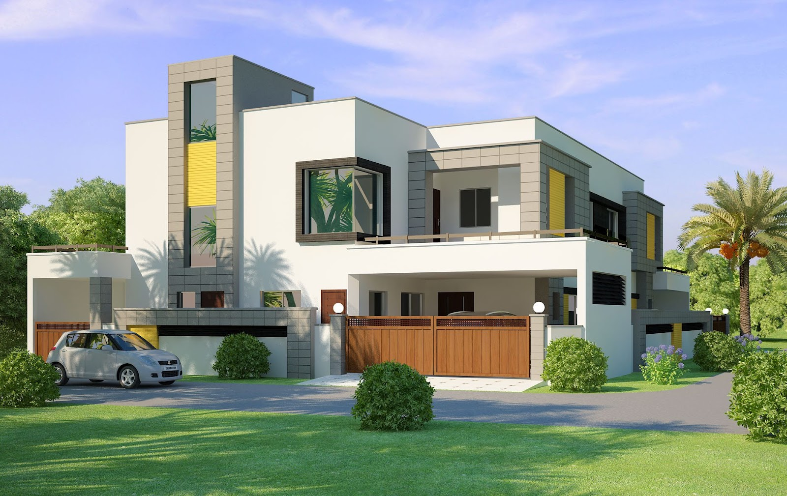 Lahore india beautiful house 2 kanal 3d front elevation com for Casas pintadas exterior