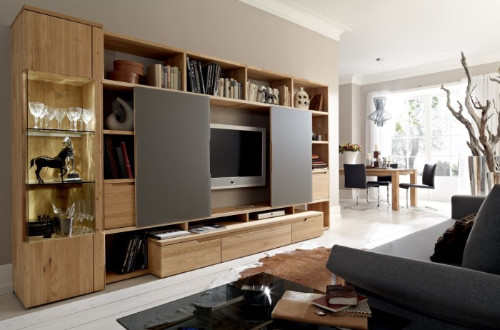 Light Wood Entertainment Center Wall Unit With Black