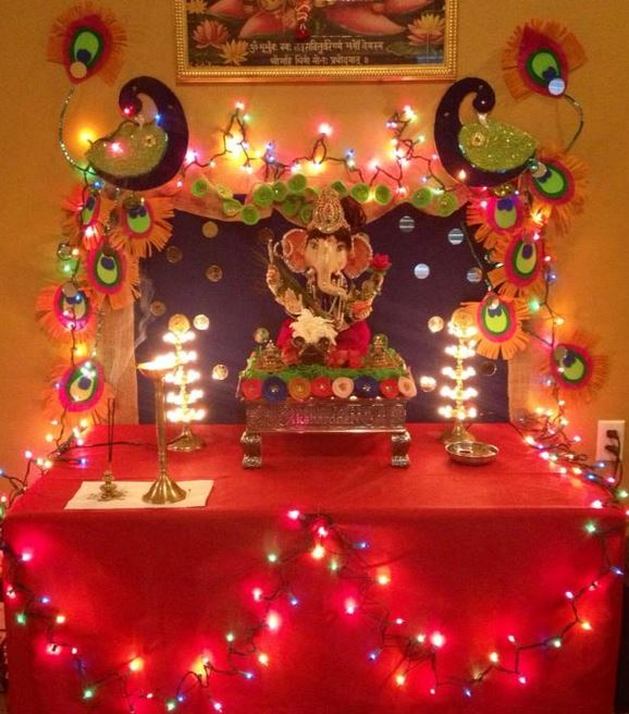 Ganesh chaturthi decoration ideas for home for Simple diwali home decorations