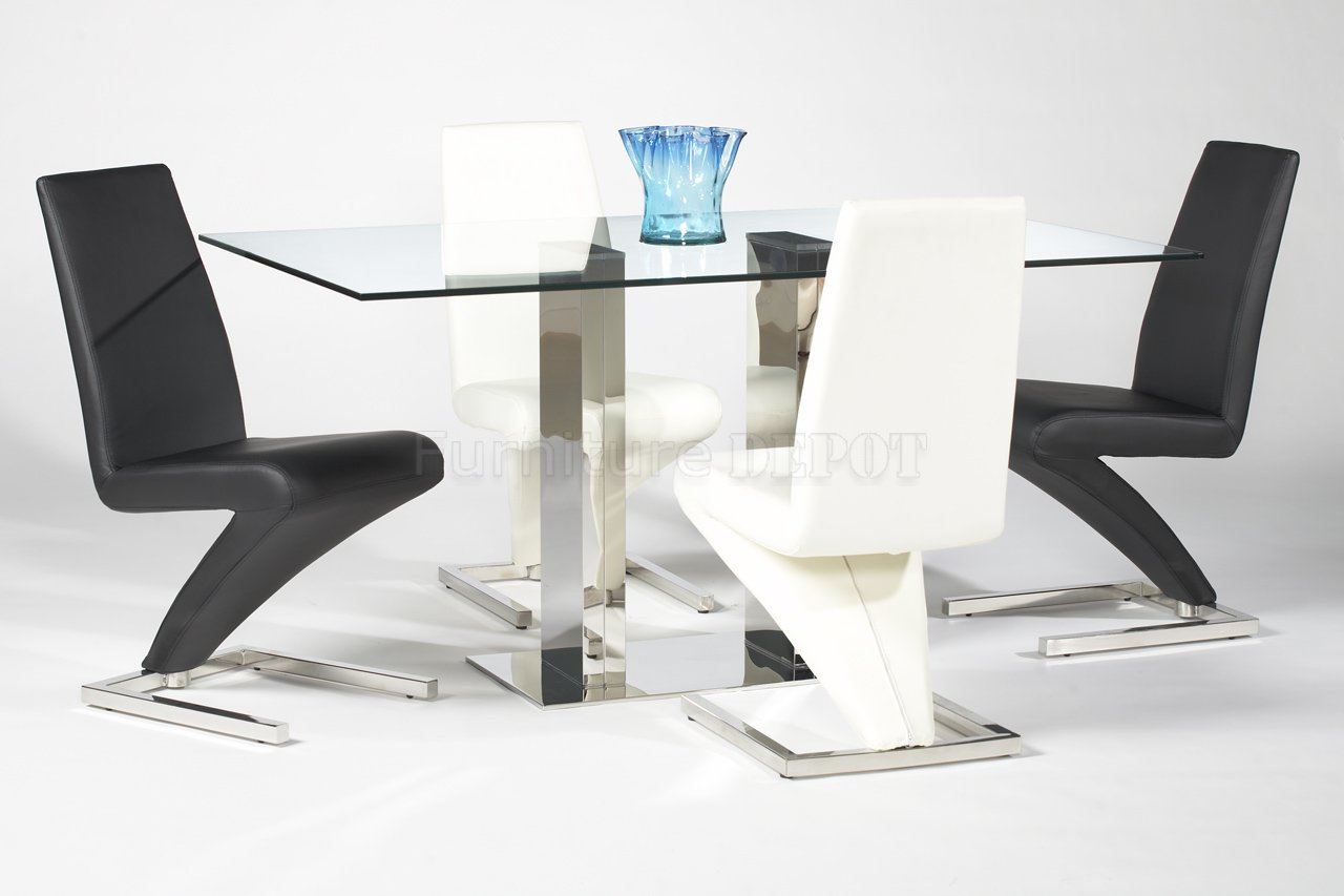 Modern dining table designs with glass top - Rectangular Glass Top Modern Dining Table With Stunning