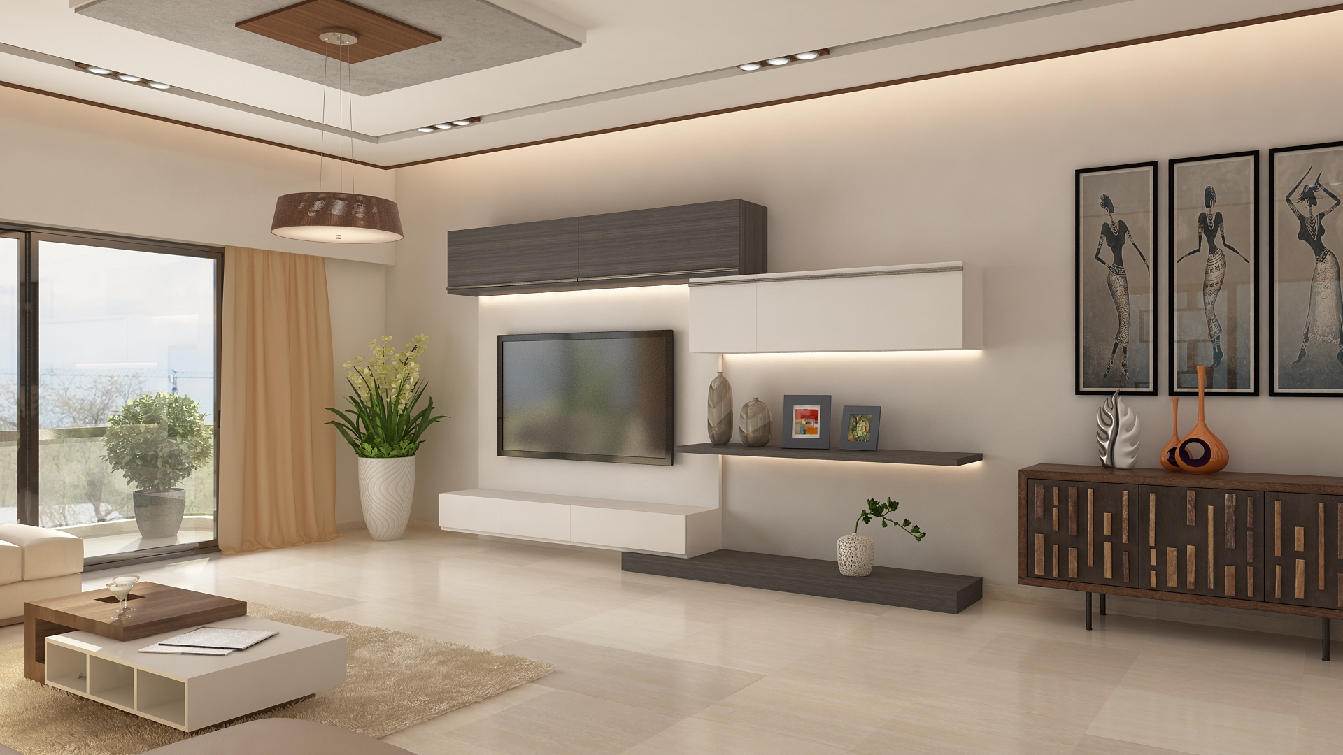 Ghar360 portfolio 2 bhk apartment interior design in jp - Wall units for living room mumbai ...
