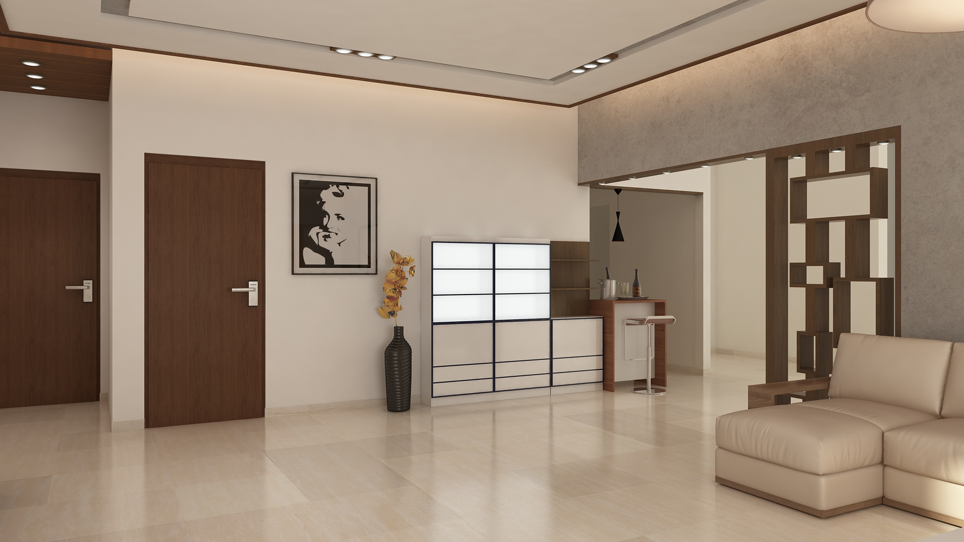Ghar360 portfolio 2 bhk apartment interior design in jp for 2 bhk interior decoration