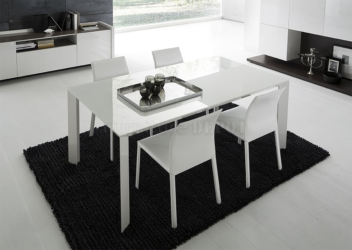 White Lacquered Glass Top Modern Dining Table With