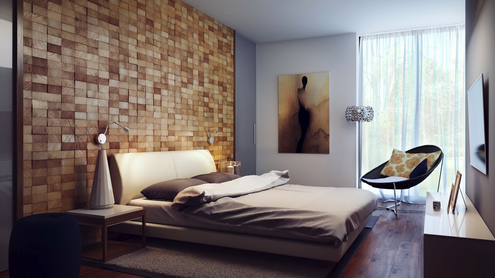 Bedroom Amazing Brick Alike Wooden Wall Covering Headboard
