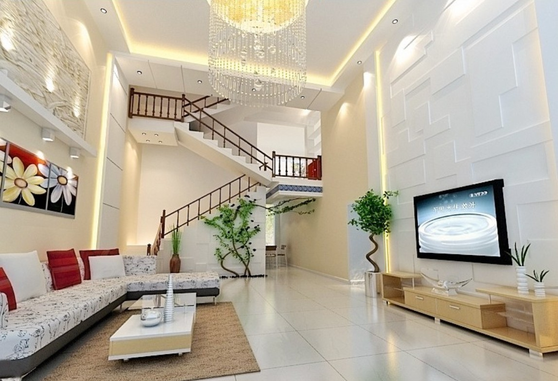 Beautiful staircase designs ghar360 for House interior living room