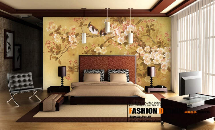 Wall Mural Vinyl Decal Chinese Faux Rhino Horn Libation Cup Chinese Wall Decor Fans