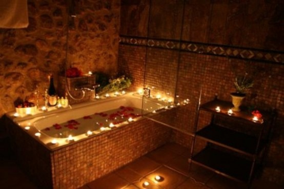 Beautiful bathroom with elegant candles for Bathroom romance photos