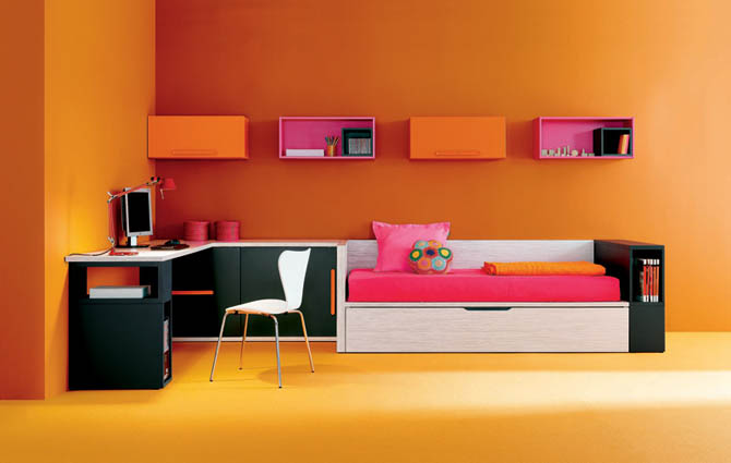 Colorful Study Room Design Converged With Bedroom Ideas Part 25