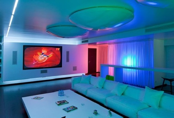 Luxury apartments design with cool lighting Led lighting ideas for living room