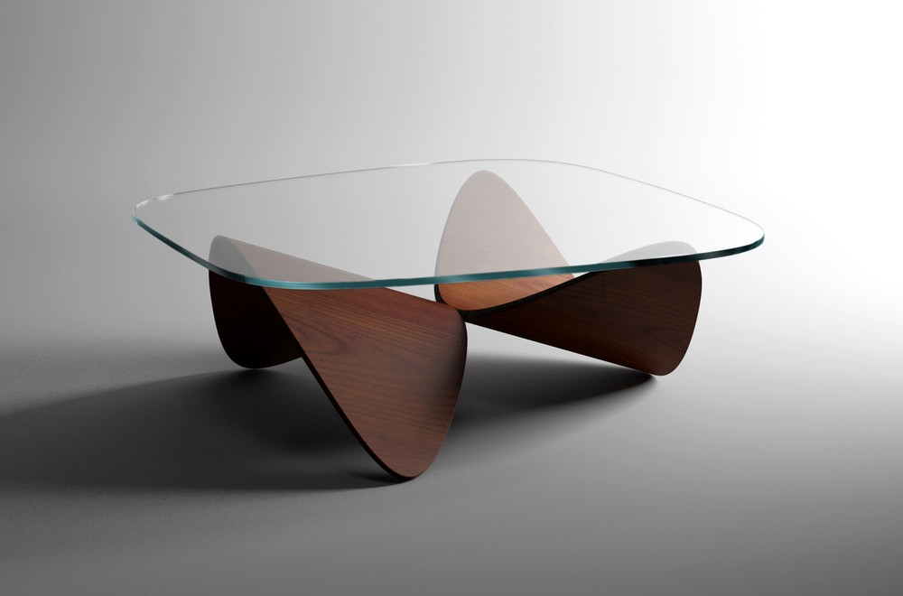 Sculptural Oak Sofa Table By Sandro Lopez