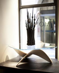 Sculptural Oak Sofa Table by Sandro Lopez