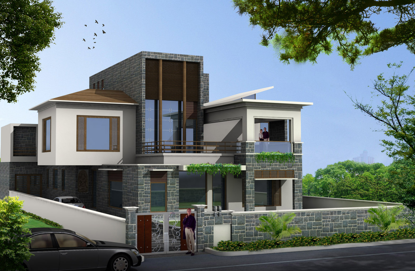 Stone Front Elevation House : Best front elevation designs