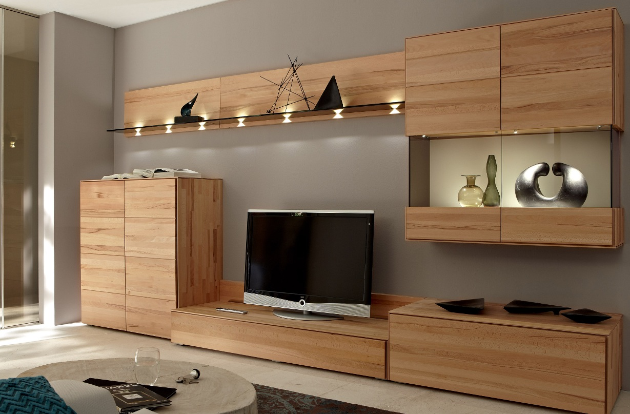 flat front modern wood media center with wall - Media Wall Design