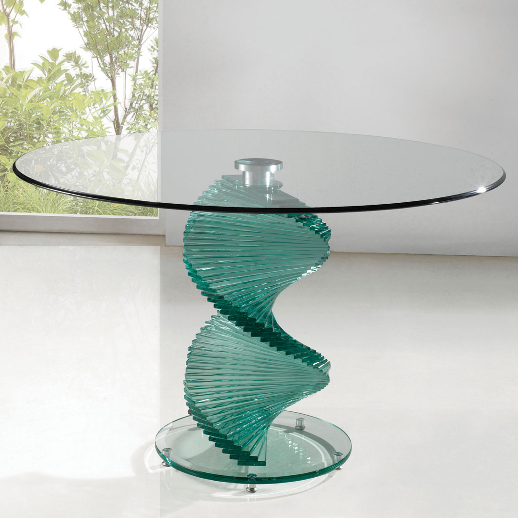 Multipurpose round glass tables for home for Glass dining table