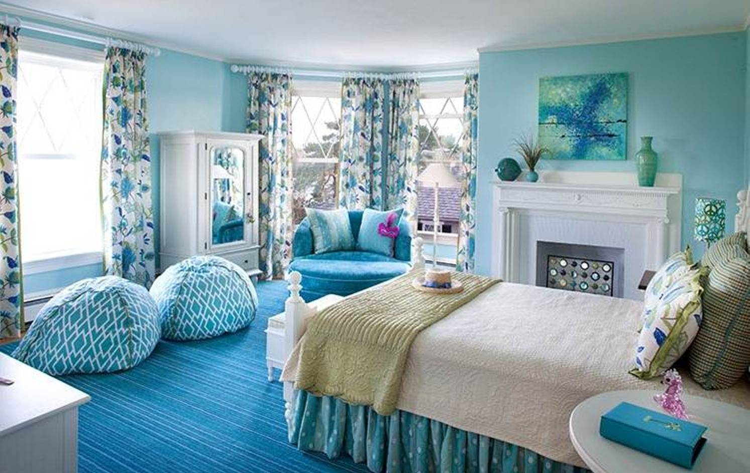girl bedroom ideas with blue