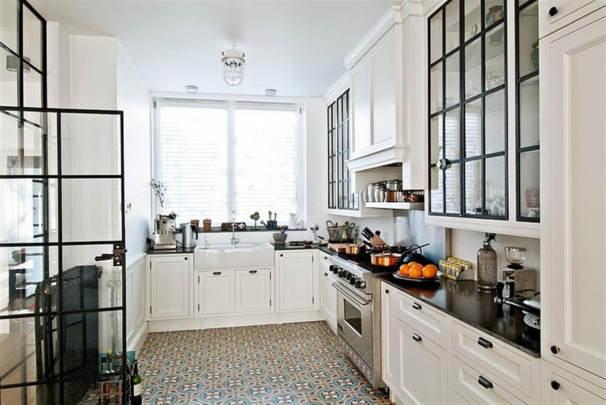 Gorski Home Residence Kitchen Interior Design With White Cabinets And Patterned Tile Flooring