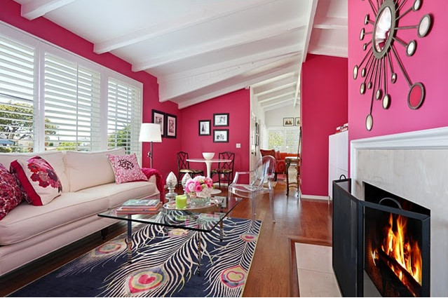 Black And White And Pink Living Room ideas for decorating a modern living room