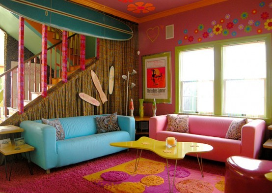 Ideas for decorating a modern living room for Bright coloured living room ideas