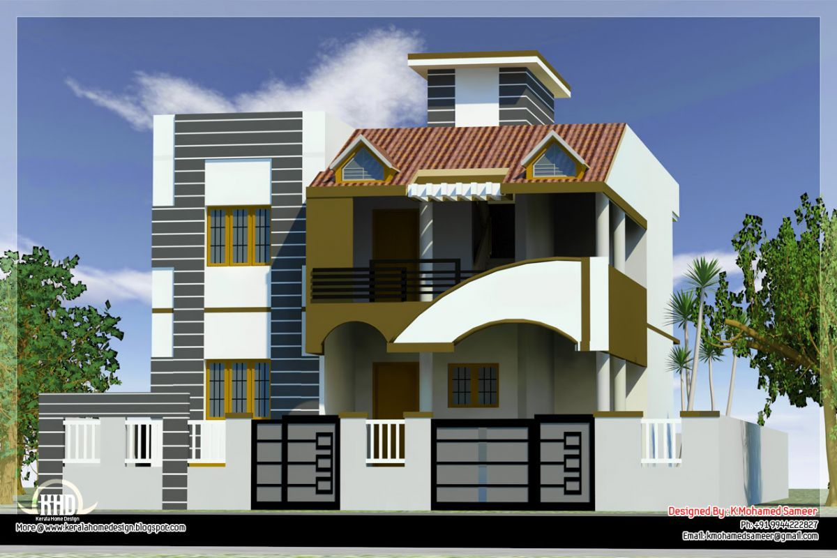 Modern house front side design india elevation design 3d for Front design of small house
