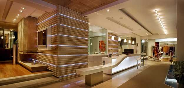 Led lights for interiors and exteriors for Modern open plan houses