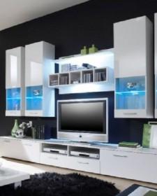Stylish aesthetic glass shelves under TV